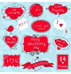 Doodle Valentine frames vector image