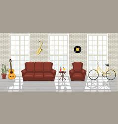 loft studio interior big windows white brick vector image
