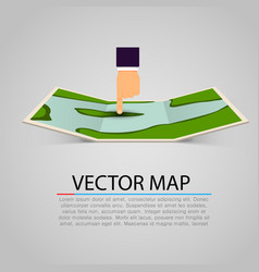 paper map sign with pointing hand vector image vector image