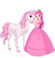 beautiful princess and her cute horse vector image vector image