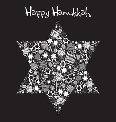 happy hanukkah star of david vector image