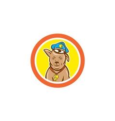 Police Dog Canine Circle Cartoon vector image