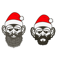Set of santa monkey vector image