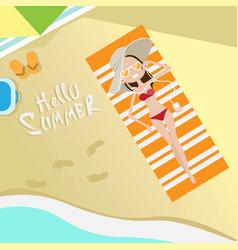 tourist woman lying on beach top angle view hello vector image vector image