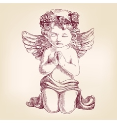 angel prays on his knees hand drawn vector image