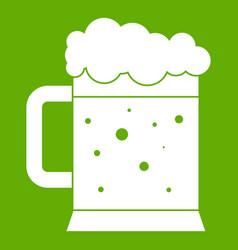 beer mug icon green vector image