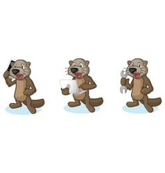 Dark Brown Sea Otter Mascot with laptop vector image vector image