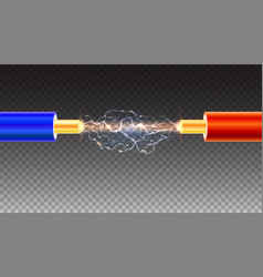 electric cable with sparks on transparent vector image