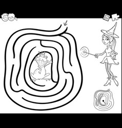 fairy tale maze coloring page vector image vector image