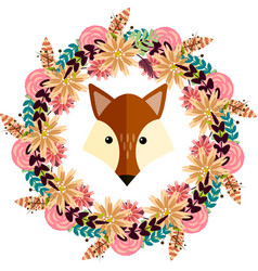 fox and floral wreath separated vector image vector image