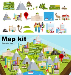 Map kit clean style vector image