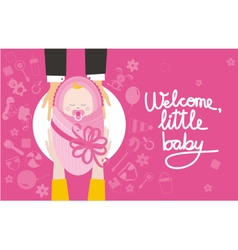 Welcome little baby girl vector image vector image