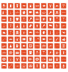 100 beer icons set grunge orange vector