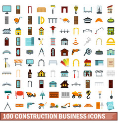 100 construction business icons set flat style vector image