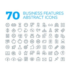 70 Thin Line Universal Business Icons vector