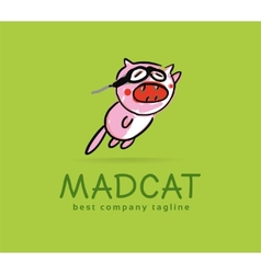 Abstract mad cat monster logo icon concept vector image