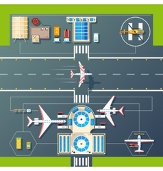 Airport Runways Top View Flat Image vector