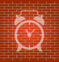 alarm clock sign whitish icon on brick vector image