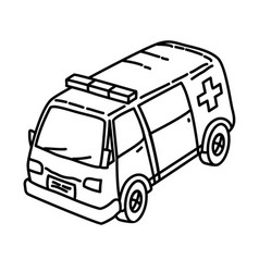 ambulance icon doodle hand drawn or outline icon vector image