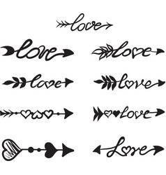 Arrows with hearts and the word love vector