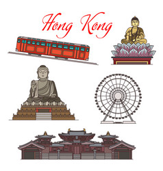 Asian travel landmarks hong kong architecture vector