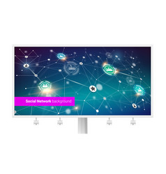 billboard with interaction in internet network vector image