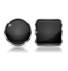 Black buttons with chrome frame 3d round and vector