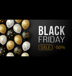 black friday sale horizontal banner with vector image