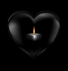 Black heart and burning candle vector