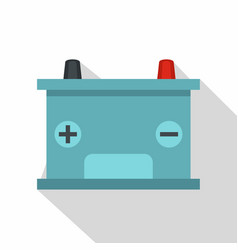 Blue battery car icon flat style vector