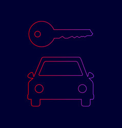 car key simplistic sign line icon with vector image