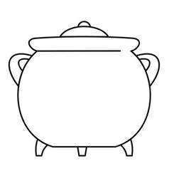 Cauldron icon outline style vector