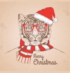 Christmas hipster fashion animal tiger vector