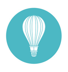 circle light blue with hot air balloon vector image