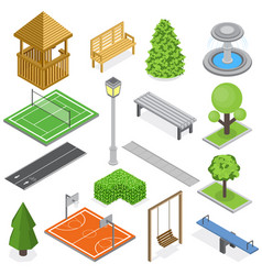 City park infrastructure isometric set vector