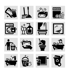 Cleaning black icons vector