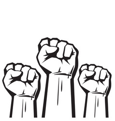 clenched fists raised in protest vector image