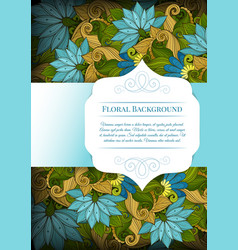 Colored floral template with place for text vector