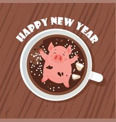 cute and funny happy new year greeting card year vector image