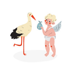 Cute cupid giving baby to stork amur baby angel vector