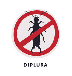 Diplura harmful insect prohibition sign pest vector