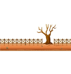 Dry tree with fences along the road vector image