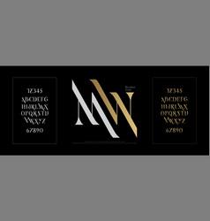 elegant alphabet letters font set classic gold vector image