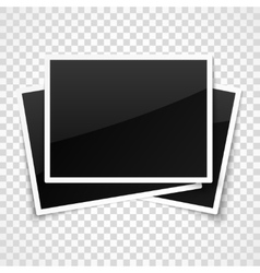 Empty photo frames on transparent checkered vector