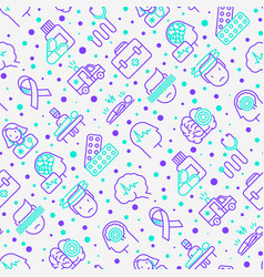 Epilepsy seamless pattern with thin line icons vector