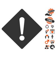 error rhombus icon with love bonus vector image