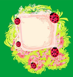 Family of ladybugs on the abstract floral vector image