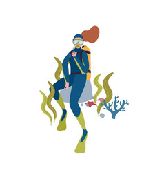 female diver flat character vector image