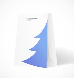 Festive paper bag with fir-tree for your business vector image