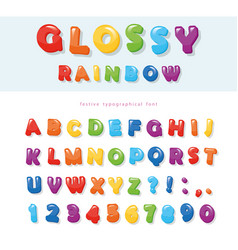 glossy rainbow colored font design festive abc vector image